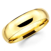 14K Solid Yellow Gold 6mm Plain Men's and Women's Wedding Band Ring - Size 5