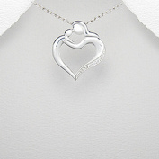 Sterling Silver Mother Child Holding Hands Heart Cubic Zirconia 46cm Chain
