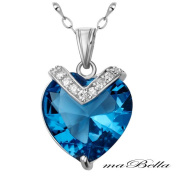Mabella PWS006CT 10.84 cttw .925 Sterling Silver Heart Cut 15mm Created Blue Topaz Pendant