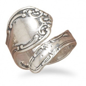 Sterling Silver Oxidised Spoon Ring Adjustable Ring