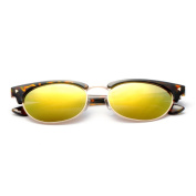 Half Frame Horn Rimmed, Round Sunglasses with Coloured Lens 56MM
