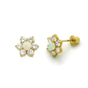 14K Gold Stud Screwback Earring Opal and CZ Cluster Flower Yellow Gold Earring