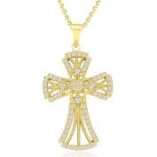 .925 Sterling Silver Gold Plated and CZ Cross Necklace