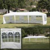 Bellezza© 3mx9.1m Canopy Party Wedding Outdoor HD Tent Gazebo w/ (5) Removable Wall, White