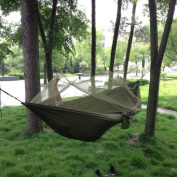 Enjoydeal Portable High Strength Parachute Fabric Hammock Hanging Bed With Mosquito Net For Outdoor Camping Travel (Army