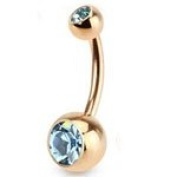 Aqua Crystal Brushed Rose Gold Plated Over 316L Surgical Steel Belly Bar Navel Button Ring