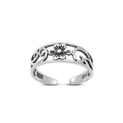 Vorra Fashion 925. Sterling Silver Round Cut Cubic Zirconia Platinum Plated Flower Wave Design Toe Ring