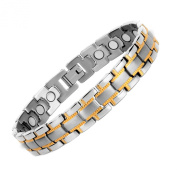 Rainso Mens Magnetic Therapy Health Bracelet With Silver Gold Plated In Gift Bag.