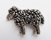 Woolly Sheep Pewter Pin Badge - Hand Made in Cornwall