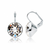 MYJS Bella Statement Earrings Clear Crystal Rhodium Plated