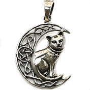 Solid Sterling Silver Moon Cat Wicca Pentagram Pendant P070