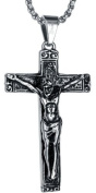 Stainless Steel Men's Jesus Christ Crucifix Cross Pendant Necklace With 3.5Mm Round Link Chain - G2015D