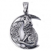 Solid Sterling Silver Howling Moon Wolf Pendant Talisman P074