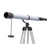 ST-0117-Black/W 170cm . Floor Standing Oil Rubbed Bronze-White Leather Galileo Telescope