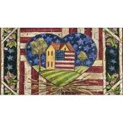 Toland Home Garden American Folk Heart 50cm x 100cm Decorative USA-Produced Anti-Fatigue Soft-Step Kitchen/Bathroom/Stan