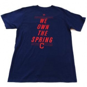"""Cleveland Indians """"We Own The Spring"""" Majestic Short Sleeve Shirt Size L"""