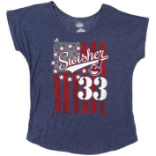 Cleveland Indians Majestic Nick Swisher #33 Scoop Neck T Shirt Ladies Size M