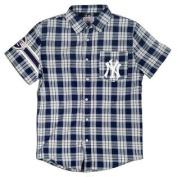 New York Yankees Wordmark Basic Flannel Short Sleeve Shirt Sizes S-XXL