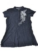 New York Yankees Antigua Women Navy 1/3 Button Up Short Sleeve Polo Shirt