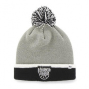 Brooklyn Nets Grey Black Baraka Retro 1990 Cuff Poofball Beanie Hat Cap