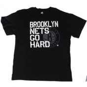 """Brooklyn Nets Majestic """"Go Hard"""" Black Tshirt Size 2XL"""