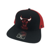 Chicago Bulls Black & Red Two Tone Fitted Flat Bill Hat Cap