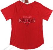 Chicago Bulls Mitchell & Ness V Neck T Shirt Ladies Size M