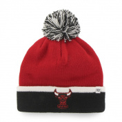Chicago Bulls 47 Brand Red Black Baraka Retro 1984 Cuff Poofball Beanie Hat Cap