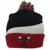 Chicago Bulls Tri-Colour Cuffed Knit Poofball Beanie Hat Cap