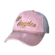 Los Angeles Lakers Women Pink Worn Vintage Mesh Snapback Hat Cap