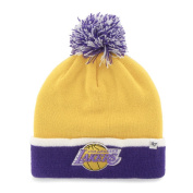 Los Angeles Lakers Yellow Purple Baraka Retro 1967 Poof Beanie Hat Cap