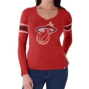 Miami Heat 47 Brand Women Rebound Red Homerun LS V-Neck T-Shirt