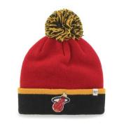 Miami Heat Red Black Baraka Retro 1988 Cuffed Poofball Beanie Hat Cap