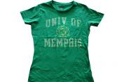 Memphis Tigers Womens Green Faded Crest Logo T-Shirt