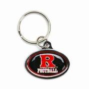 Rutgers Scarlet Knights Football Metal Key Chain W/domed Insert - Black