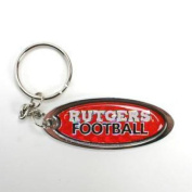 Rutgers Scarlet Knights Metal Key Chain W/domed Insert - Red Background