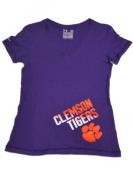 Clemson Tigers Under Armour Women Purple HeatGear V-Neck T-Shirt