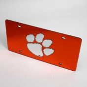 Clemson Tigers Licence Plate - Orange W/ Mirrored Acrylic Paw