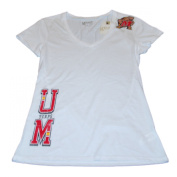Maryland Terrapins Gear for Sports Women White V-Neck Thin Fitted T-Shirt