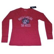 North Carolina Tar Heels Gear Women Red Tri-Blend V-Neck LS T-Shirt