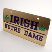 Notre Dame Fighting Irish Inlaid Acrylic Licence Plate - Gold Mirror Background