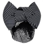 12cm Women Bun Cover Net Snood Bowknot Decor Barrette Hair Clip