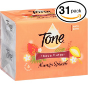 (PACK OF 31 BARS) Tone Soap Bath Bar, Mango Splash. COCOA BUTTER, BOTANICALS & VITAMIN-E. Rich & Creamy Lather! Great for Hands, Face & Body!