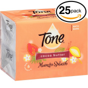 (PACK OF 25 BARS) Tone Soap Bath Bar, Mango Splash. COCOA BUTTER, BOTANICALS & VITAMIN-E. Rich & Creamy Lather! Great for Hands, Face & Body!