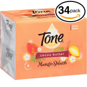 (PACK OF 34 BARS) Tone Soap Bath Bar, Mango Splash. COCOA BUTTER, BOTANICALS & VITAMIN-E. Rich & Creamy Lather! Great for Hands, Face & Body!