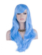 Women 70cm Long Heat Resistant Wavy Hair Cosplay/daily Wig(light Blue)