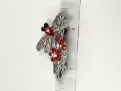 Dragonfly Crystal with Silver Metal Barrette 5 Colour 12 Pieces