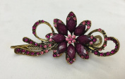 Gorgeous Vintage Jewellery Crystal Flower Design Fashion Hair Clips Hair Pins Hair Sticks - Large Size - Mauve Colour -For Hair Beauty Tools