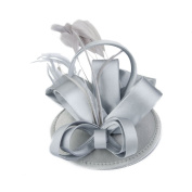 Women's Feather Fascinator Hat Clip on Wedding Party Hair Accessory Silver Grey