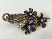 Gorgeous Fashion Jewellery Crystal Rhinestones Flower Design Hair Clips Hair Pins Hair Sticks - Large Size - Amethyst -For Hair Beauty Tools
